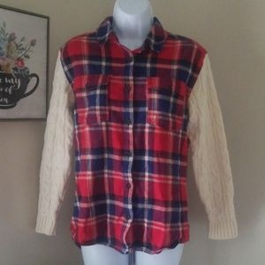 Forever 21 adorable plaid sweater sleeve button